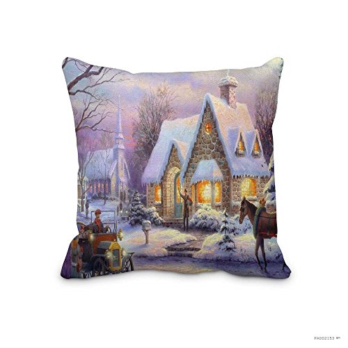 Festival Ornaments Pillow Case Memories Of Christmas By Thomas Kinkade Memories Of Christmas by Thomas Kinkade Cushion Cover 18x18inch