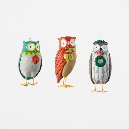 One Hundred Eighty Degree 3″-3.5″ Assorted Resin Owl Ornaments Set of 3