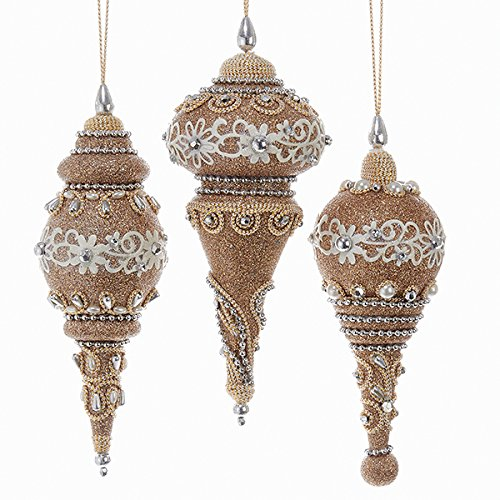 Kurt Adler 6 Inch 3 Assorted Rose Gold Glitter With Lace And Beads Finial Ornaments