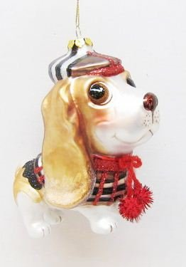 December Diamonds Glass Bassett Hound Holiday Ornament