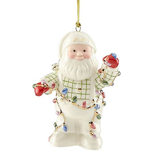 Lenox 2016 Santa Figurine Ornament Annual Tangled in Lights Christmas