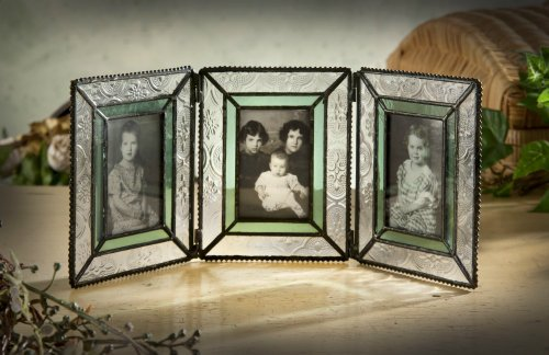 J Devlin Pic 122-3 Stained Glass Triple Hinged Photo Frame Holds Three 2×3 Pictures Sage Green