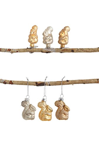 Box Set of 6 Christmas 2″ Ornaments, Woodland Squirrel Designs