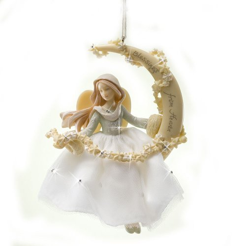 Enesco Foundations Angel Sitting the Moon Ornament, 5-Inch