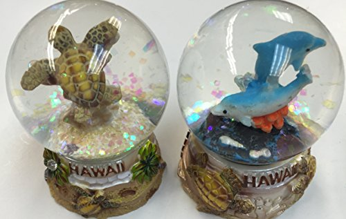 Snowglobe Turtle and Dolphin Hawaiian Design set of 2 pcs