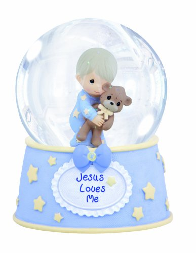 Precious Moments,  Jesus Loves Me, Resin/Glass Snow Globe, Boy, Musical, 132103