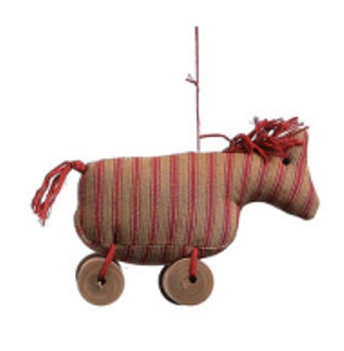 Creative Co-op 4″ High Shabby Chic Fabric Ornament on Spool, Choice of 4 Styles, horse