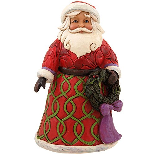 Jim Shore for Enesco Heartwood Creek Pint Sized Santa with Wreath Figurine, 5-Inch
