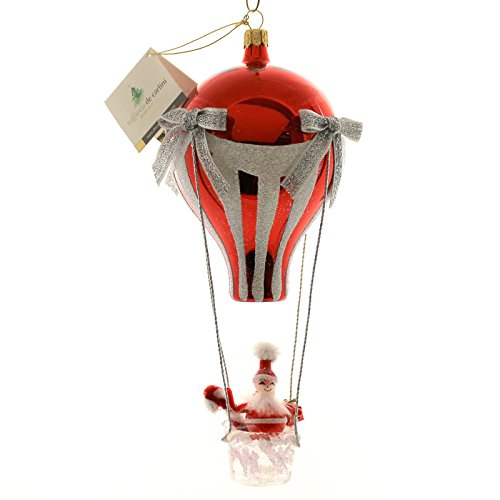 De Carlini AIR BALLOON W/SANTA Glass Ornament Christmas V30541 RED