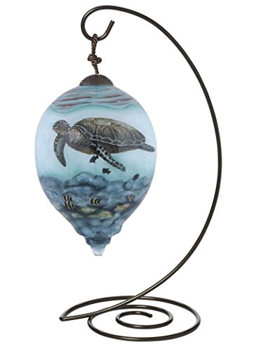 """Ne'Qwa Petite Princess-Shaped Glass Ornament With Classic Hanging Stand, """"Sea Turtles"""" Artist Cynthie Fisher, #7149905"""