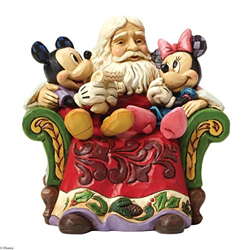 Jim Shore for Enesco Disney Traditions by Santa with Mickey & Minnie Figurine, 5″
