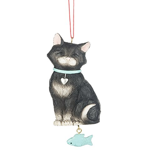 Tuxedo Cat and Fish Resin Stone Christmas Ornament Figurine