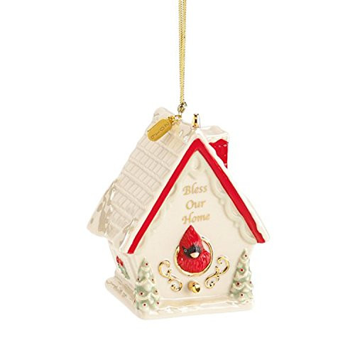 Lenox 2016 Bless Our Home Ornament Annual Christmas Cardinal Birdhouse Gift