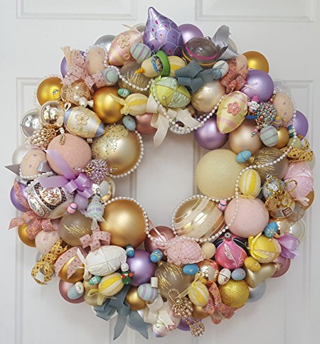 22″ Vintage Hand-Crafted Easter Glass & Wood Ornament Holiday Wreath
