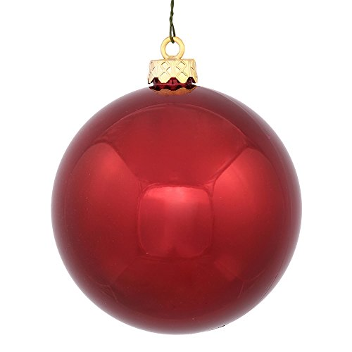 Vickerman Shiny Burgundy UV Resistant Commercial Drilled Shatterproof Christmas Ball Ornament, 2.75″