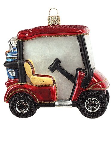 Golf Cart Polish Glass Christmas Ornament Golfing Golfer Tree Decoration