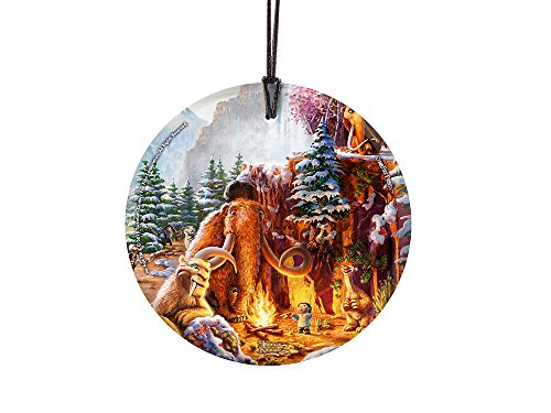 Thomas Kinkade Artwork (Ice Age) StarFire Prints(TM) Hanging Glass Ornament – Home and Christmas Tree Decoration