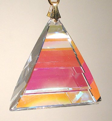 Swarovski 35mm Aurora Borealis Crystal Pyramid Dangle Prism