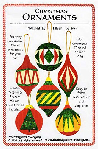 Christmas Ornaments – Foundation Paper Piecing Pattern – 6 Ornaments Patterns