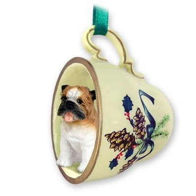 Bulldog Green Holiday Tea Cup Dog Ornament