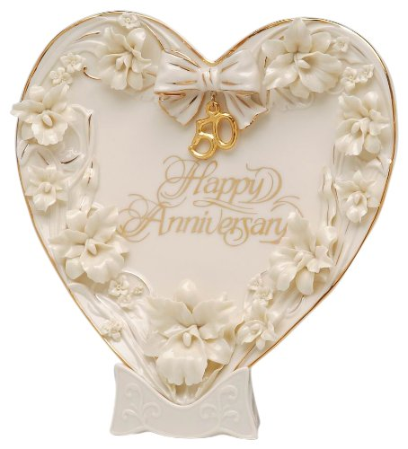 Appletree Design 50th Anniversary Orchid Heart Plate and Stand, 9 by 9-Inch