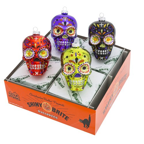 Christopher Radko Halloween 4 Piece Figures – Day of the Day Skull Ornaments