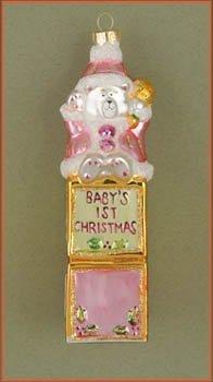 Cobane Studio LLC COBANEE220 Baby's First Christmas Bear Pink Ornament by Cobane Studio LLC