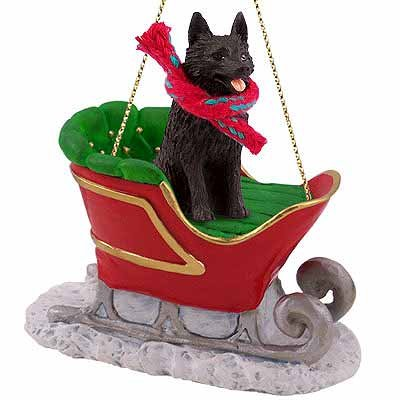 Schipperke Sleigh Ride Christmas Ornament – DELIGHTFUL! by Conversation Concepts