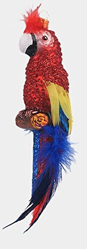 Scarlet Macaw Parrot Feathered Bird Polish Mouth Blown Glass Christmas Ornament
