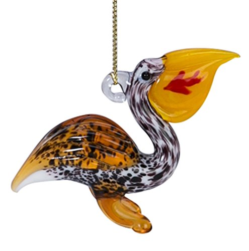 Glass Pelican with Fish In Bill Ornament