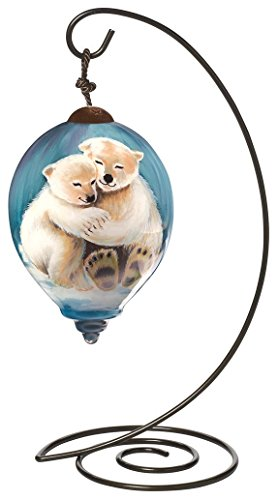 """Ne'Qwa Petite Princess-Shaped Glass Ornament With Classic Hanging Stand, """"Arctic Love"""" Artist Dona Gelsinger, #7161118"""