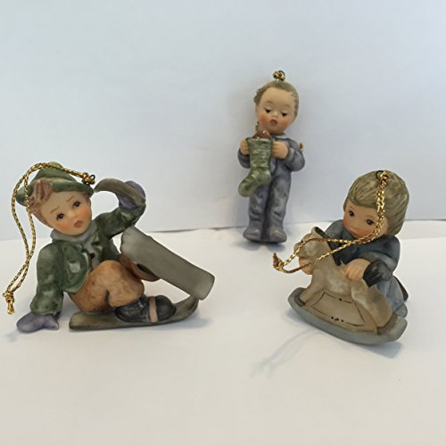 Studio Hummel Set 20 # 96058 Christmas Ornament Collection … Rock a bye Baby, Stocking for Me, Just One Ski Left