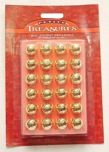 24ct Petite Treasures Shiny Gold Mini Glass Ball Christmas Ornaments 0.6″ (15mm)