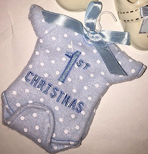 "2015 Macy's Holiday Lane Baby Boy's First Christmas ""Fleecelike"" Onesie Ornament"