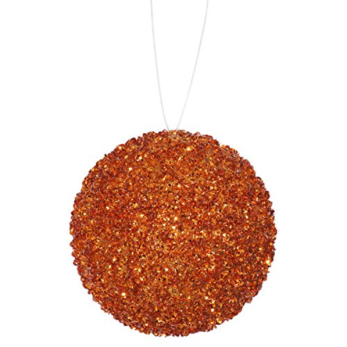 6ct Orange Sequin and Glitter Drenched Christmas Ball Ornaments 3″ (80mm)
