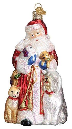 Old World Christmas Santa's Furry Friends Pets Glass Ornament 40288 FREE BOX New