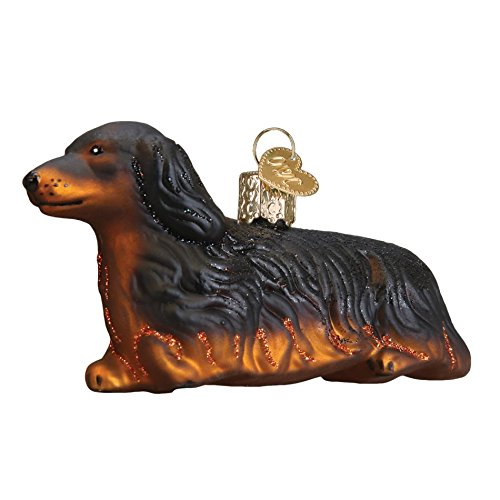Old World Christmas Long Haired Dachshund Handcrafted Hanging Tree Ornament