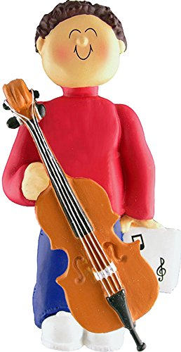 Music Treasures Co. Male Musician Cello Ornament (Brown Hair)