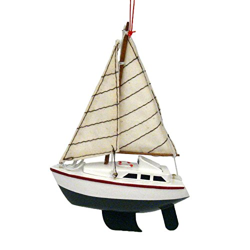 Wood Sailing Yacht Coastal Christmas Ornament – Green