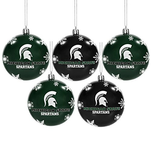 NCAA Forever Collectibles: 5 Pack Shatterproof Ball Ornament Set, Michigan State Spartans, One Size