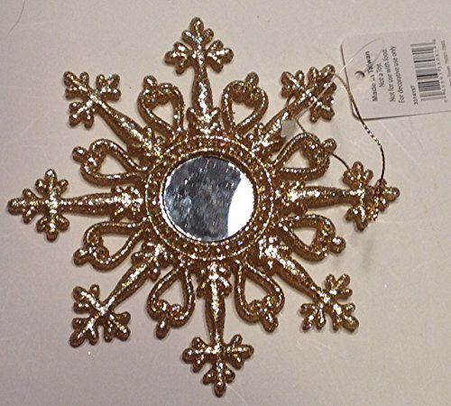 Raz Christmas Ornament Glittery Gold Mirror Snowflake