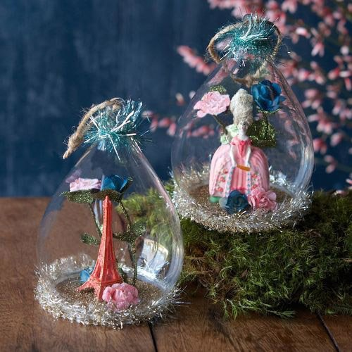 French Theme Glass Dome Ornament (Marie Antoinette)