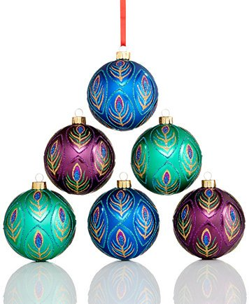 Holiday Lane Set of 6 Shatterproof Ornaments (Peacock)