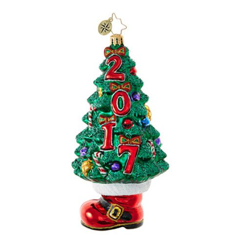 Christopher Radko  2017 Dated Booty Under the Tree Santa Boot Themed Glass Ornament – 6.5″H.