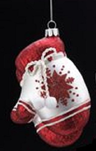4.5″ Noble Gems Glittered Glass Red and White Pair of Mittens Christmas Ornament