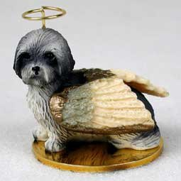 Lhasa Apso Puppy Cut Angel Dog Ornament – Gray