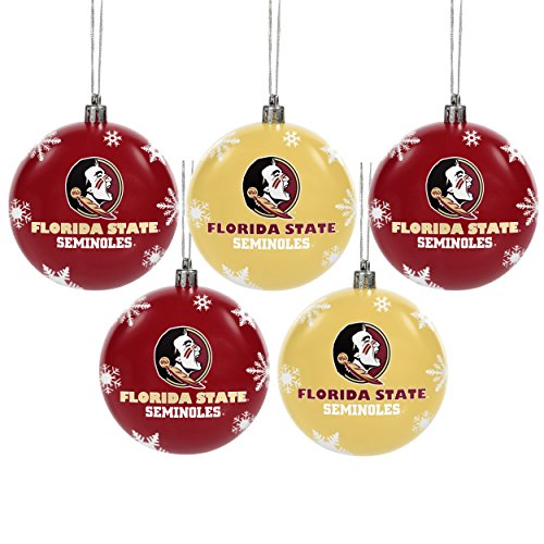 NCAA Forever Collectibles: 5 Pack Shatterproof Ball Ornament Set, Florida State Seminoles, One Size