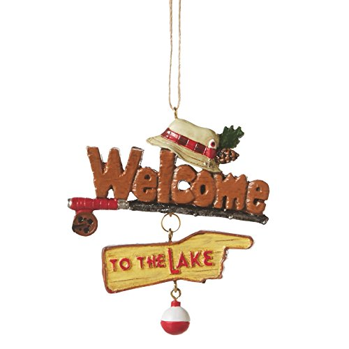 Welcome to the Lake Fishing Resin Stone Christmas Tree Ornament