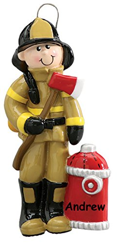 Personalized Male Fireman Firefighter Christmas Ornament with Name – 4 Inches