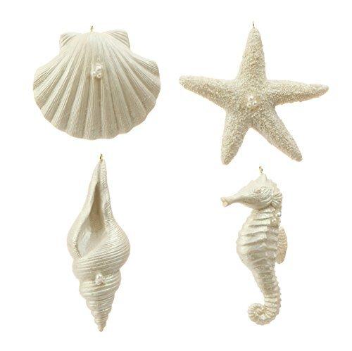 RAZ Imports – Coastal Christmas – 5″ Sea Shell Ornaments – Set of 4